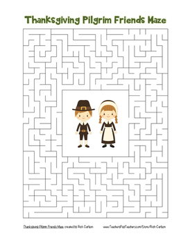 """Thanksgiving Pilgrim Friends"" Maze! Holiday FUN! (Color a"