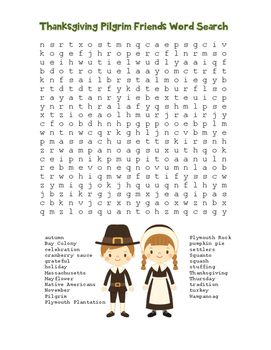 """""""Thanksgiving Pilgrim Friends"""" Word Search!  Holiday FUN!"""