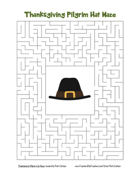 """Thanksgiving Pilgrim Hat"" Maze!  Holiday FUN!  (Color and"