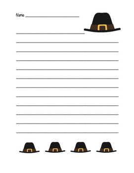 """Thanksgiving Pilgrim Hat"" Writing Sheets!  Holiday FUN! (Color)"
