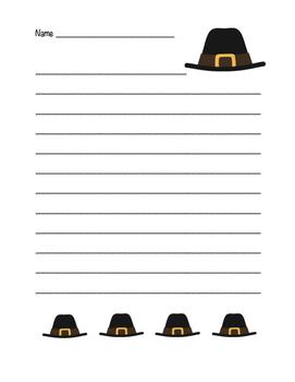 """""""Thanksgiving Pilgrim Hat"""" Writing Sheets!  Holiday FUN! ("""