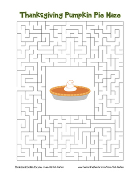 """""""Thanksgiving Pumpkin Pie"""" Maze!  Holiday FUN! (Color and"""