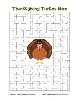 """Thanksgiving Turkey"" Maze!  Holiday FUN! (Color and Black Line)"