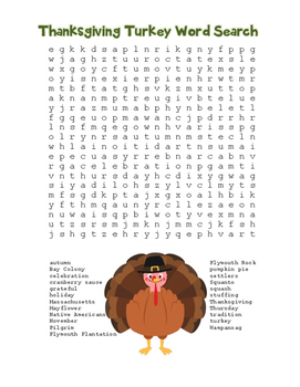 """""""Thanksgiving Turkey"""" Word Search!  Holiday FUN! (Color &"""