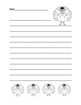 """Thanksgiving Turkey"" Writing Sheets!  Holiday FUN! (Black Line)"