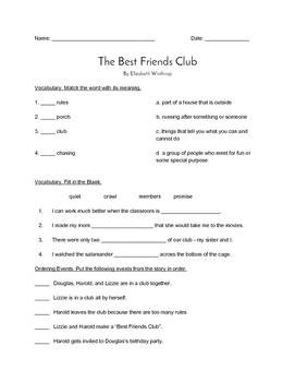 """The Best Friends Club"" QUIZ - Spotlight On Literacy (Book"