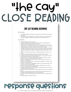 """""""The Cay"""" Close Reading Response Questions"""