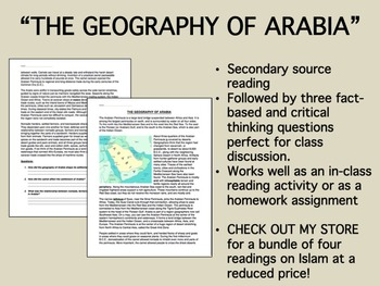 """""""The Geography of Arabia"""" reading/questions - Global/World"""