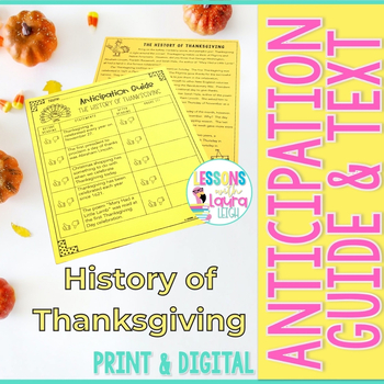 """""""The History of Thanksgiving"""" Reading Passage and Anticipa"""