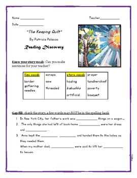 """""""The Keeping Quilt"""" by Patricia Polacco, Reading and Langu"""
