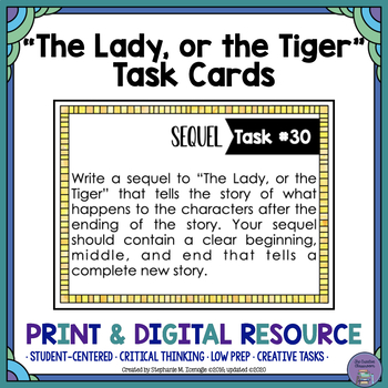 """The Lady, or the Tiger"" by Frank Stockton Task Cards with"