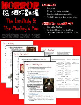 """The Landlady"" & ""The Monkey's Paw"" Test (Common Core Aligned)"