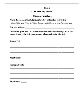 """The Monkey's Paw"" - Character Analysis Activity - W.W. Jacobs"