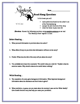 """The Monkey's Paw"" Supplemental Worksheet"