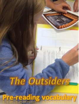 """""""The Outsiders"""" Pre-reading vocabulary list, game, test w/ key"""