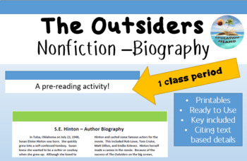 """""""The Outsiders"""" pre-reading; informational text; expositor"""