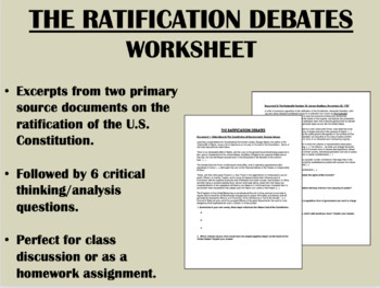 """The Ratification Debates"" - U.S. Constitution - US History/APUSH"