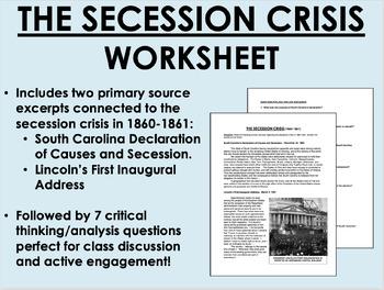 """The Secession Crisis"" reading/questions - Civil War - US"