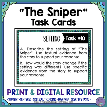 """""""The Sniper"""" by Liam O'Flaherty Task Cards with EDITABLE T"""