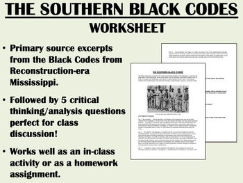"""""""The Southern Black Codes"""" - Reconstruction - US History - APUSH"""