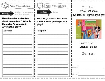"""The Three Little Cyberpigs"" Comprehension Trifold (Storyt"