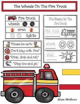 """""""The Wheels On The Fire Truck!"""" Song, Cards, & Flip Booklet"""