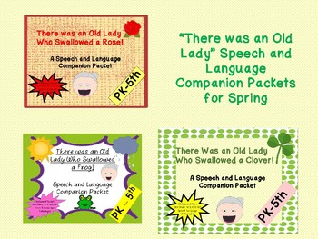 """""""There Was an Old Lady___"""" Speech and Language Spring Bundle"""