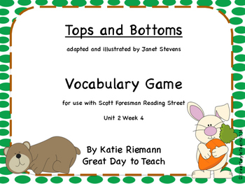 """""""Tops and Bottoms"""" by Janet Stevens Vocabulary Spinner Activity"""