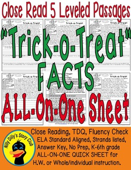 Trick-o-Treat SAFETY & FACTS Close Read 5 Levels COVER ALL