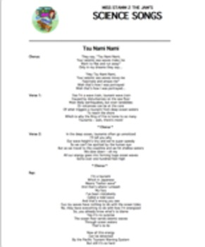 """Tsu Nami Nami"" Lyric Sheet, Worksheet, and Answer Key"