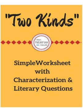 """""""Two Kinds"""" Simple Worksheet"""