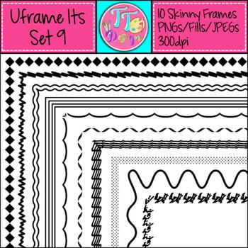 'UFrame Its' Set 9 Skinny Worksheet Frames Borders Clip Art CU OK