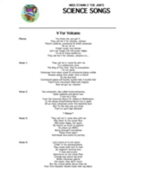"""V For Volcano"" Lyric Sheet, Worksheet, and Answer Key"