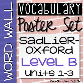{Vocabulary Workshop} Word Wall - Level B - Units 1-3