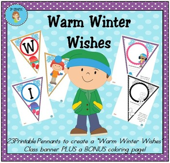 """""""Warm Winter Wishes"""" Class Pennant Banner with Worksheet"""
