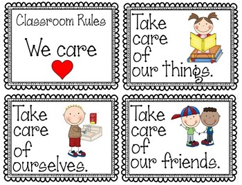 """""""We Care"""" Classroom Rules Posters"""