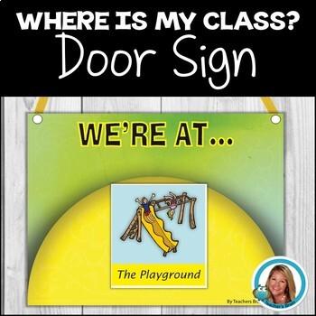 """Back To School """"We're At"""" Door Sign"""