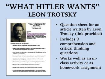 """What Hitler Wants"" - Leon Trotsky - World War II - Global"