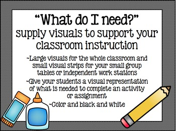 """""""What do I need?"""" - supply visuals to help support classro"""