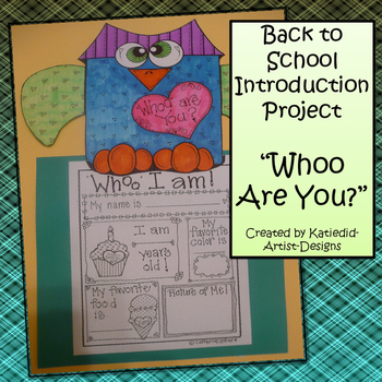 """Whoo Are You"""" Back to School Information Craft"""