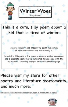 """""""Winter Woes"""" Poem, comprehension assessment, writing prom"""