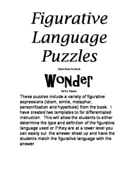 """Wonder"" Figurative Language Puzzles"