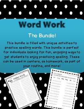 ~Word Work Bundle!!!~