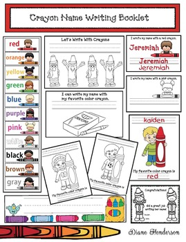 """""""Writing With Crayons!"""" Name Writing Color Booklet & Activities"""