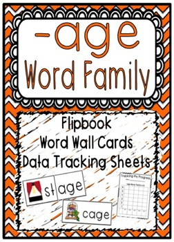 -age Word Family Flipbook, Word Wall Cards and Data Tracki