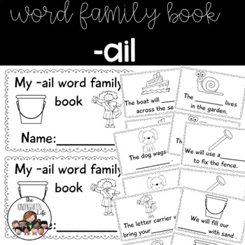 -ail word family minibook: cut and paste, word work