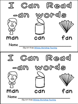 -an Word Family Emergent Reader Kindergarten with Pocket C