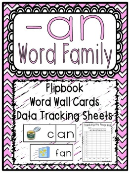 -an Word Family Flipbook, Word Wall Cards and Data Trackin