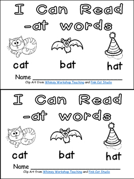 -at Word Family Emergent Reader Kindergarten with Pocket C