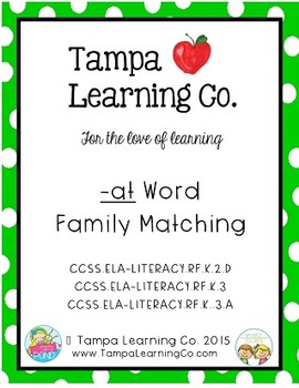 -at Word Family Matching Activity
